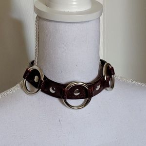 Jewelry - Burgundy Leather choker
